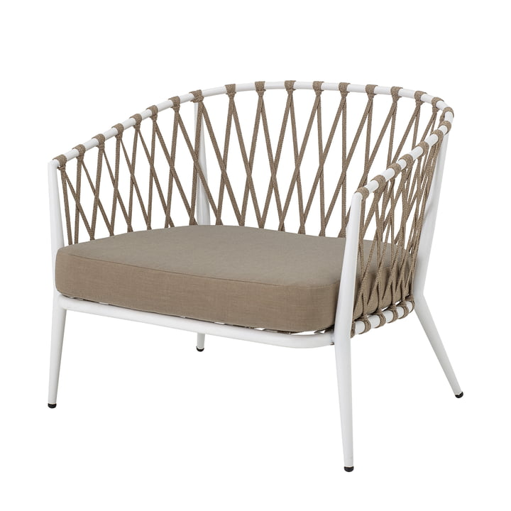 Cia Lounge Chair Outdoor from Bloomingville in white / brown