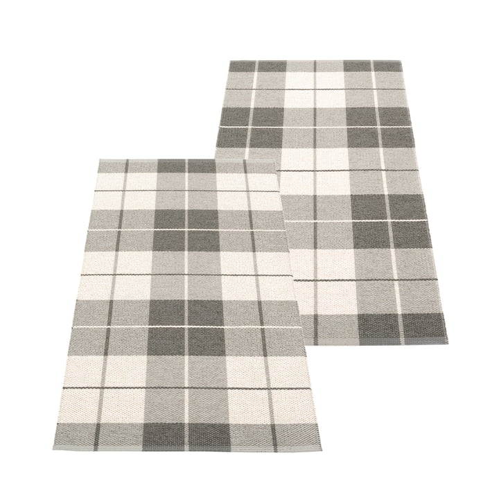 Ed Reversible rug, 70 x 140 cm, charcoal by Pappelina
