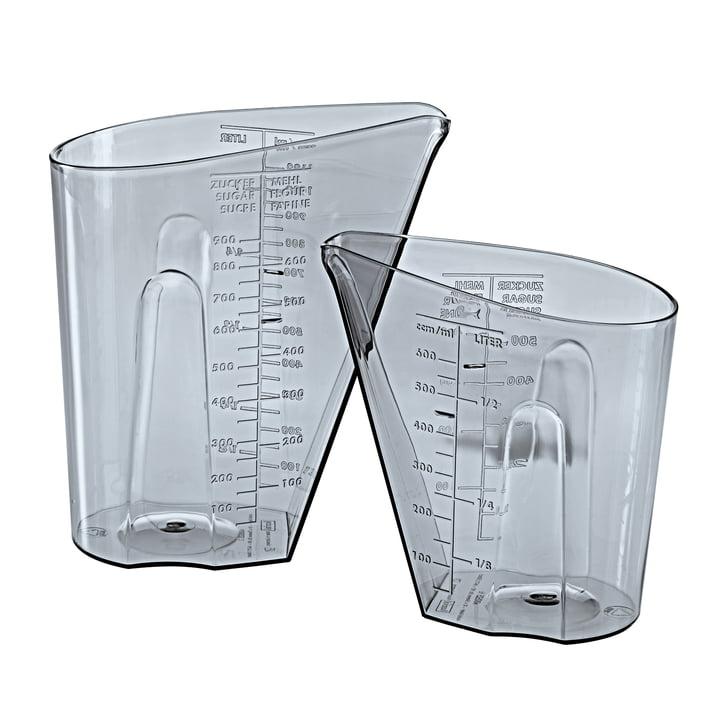 The DOSIS measuring jug set from Koziol , 0,5 l & 1 l, transparent grey (set of 2)