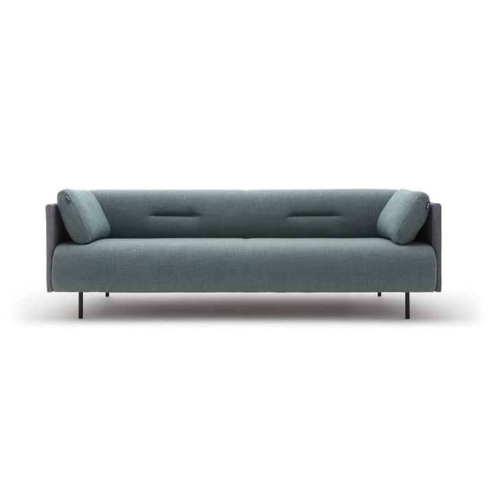 The 131 Sofa from freistil as 3-seater, black-green / graphite-grey