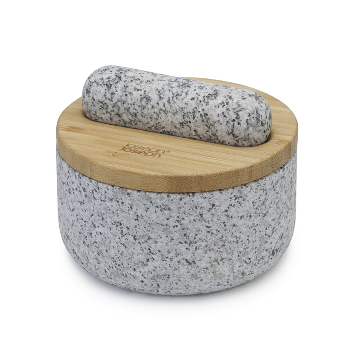 The Dash mortar and pestle from Joseph Joseph in granite / bamboo