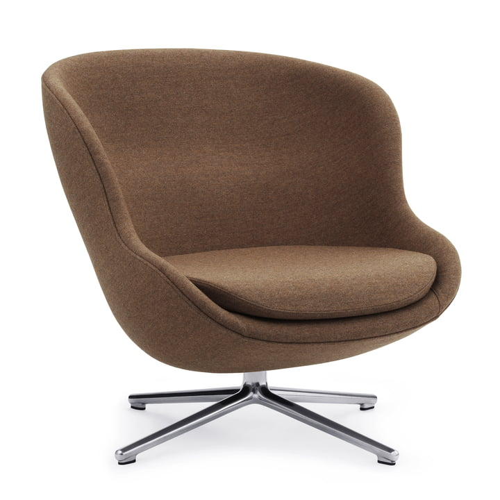 The Hyg lounge chair with swivel base from Normann Copenhagen , Aluminium / Synergy