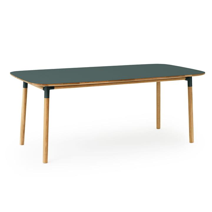 The Form dining table from Normann Copenhagen , 95 x 200 cm, oak / green