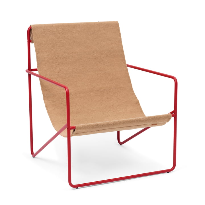 The Desert Lounge Chair from ferm Living in poppy red / sand