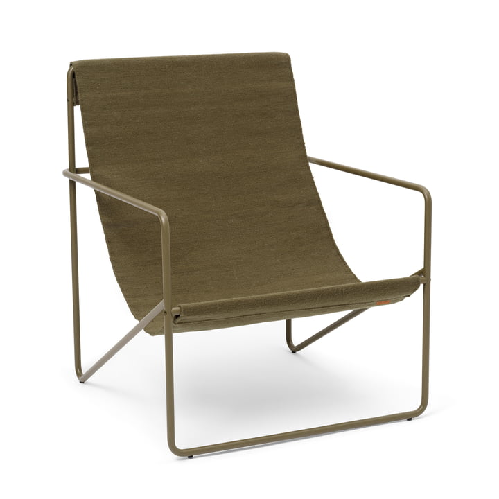 The Desert Lounge Chair from ferm Living in olive / olive
