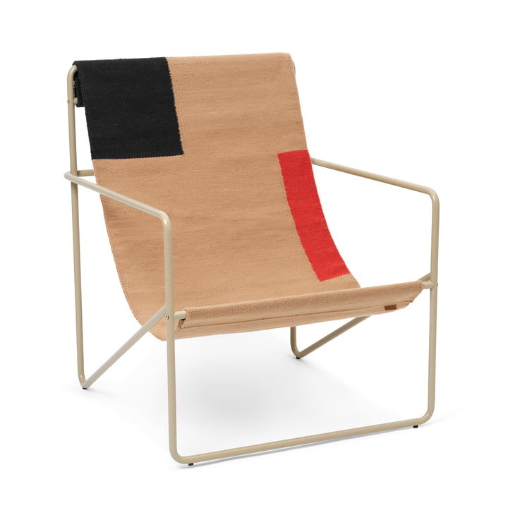 The Desert Lounge Chair from ferm Living in cashmere / block