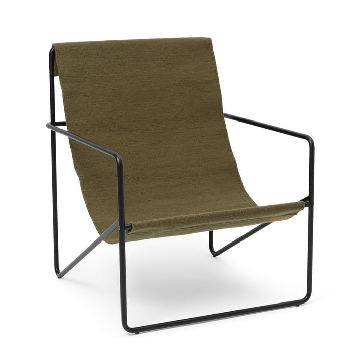 The Desert Lounge Chair from ferm Living in black / olive