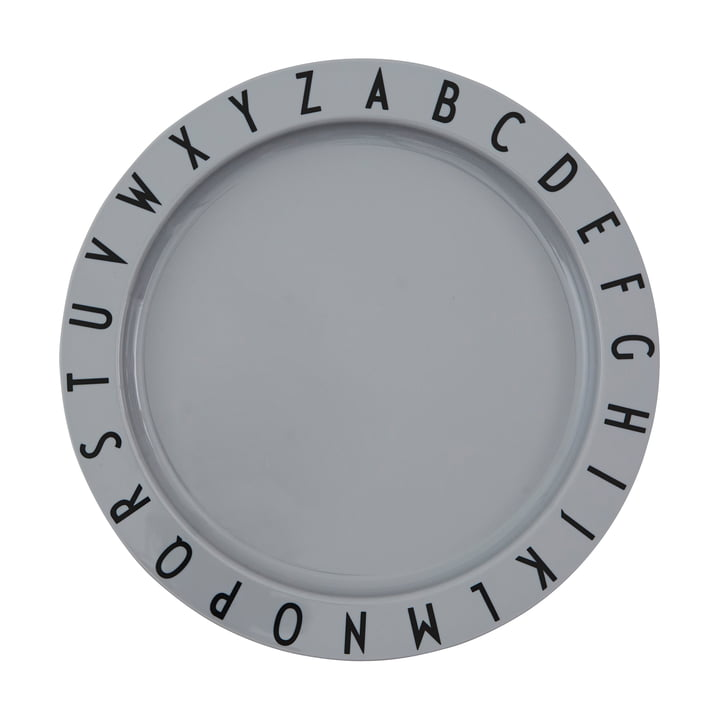 The Eat & Learn Tritan plate from Design Letters in grey