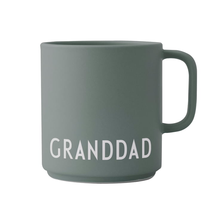 The AJ Favourite porcelain mug with handle from Design Letters , Granddad / dusty green