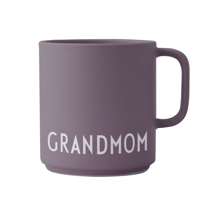The AJ Favourite porcelain mug with handle from Design Letters , Grandmom / dusty purple