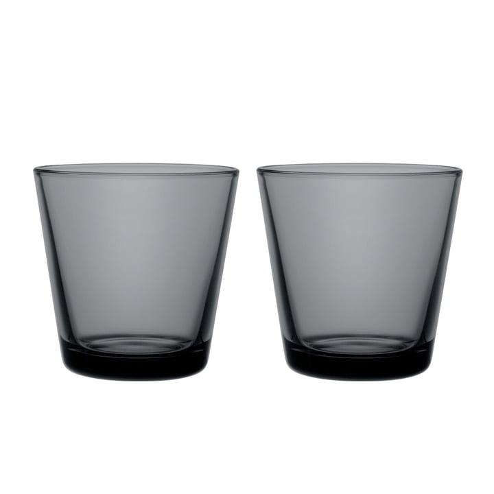 The Kartio Drinking glass from Iittala , 21 cl, dark grey (set of 2)