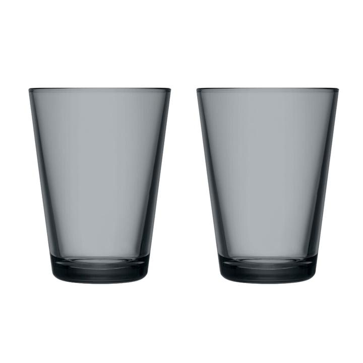 The Kartio Drinking glass from Iittala , 40 cl, dark grey (set of 2)