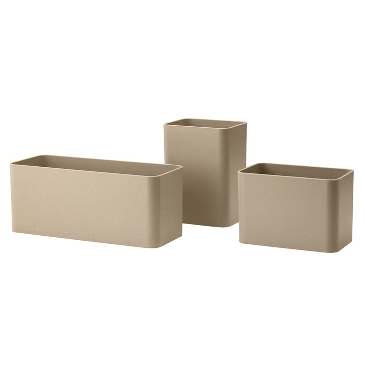 Storage boxes, beige (set of 3) from String
