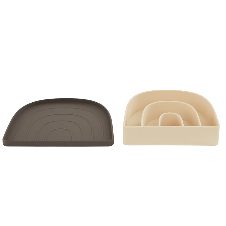 The Rainbow plate and bowl set from OYOY , choco / vanilla