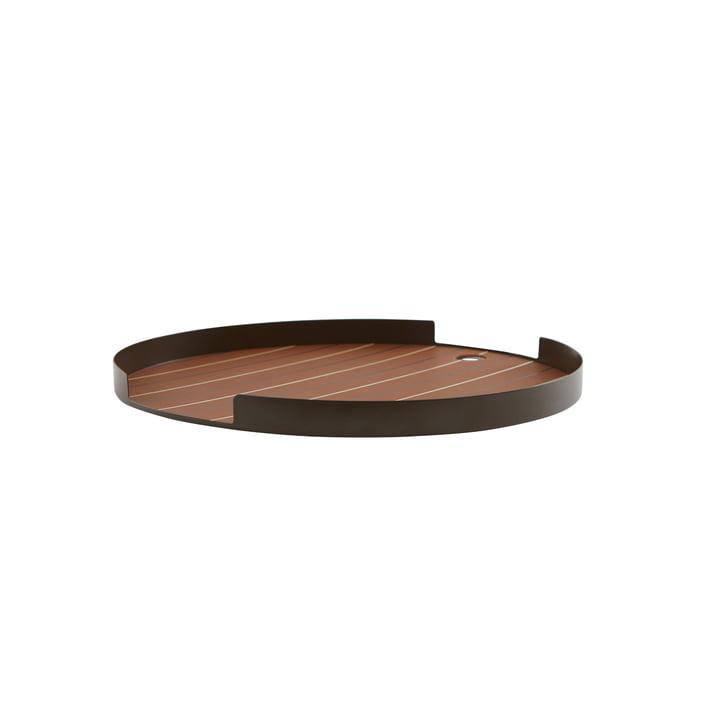 The Oka tray from OYOY , Ø 32.4 x H 2.3 cm, choco