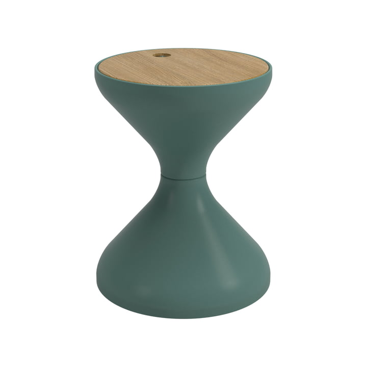 The Bells Side table from Gloster , Ø 40 x H 50,5 cm, teak / jade green