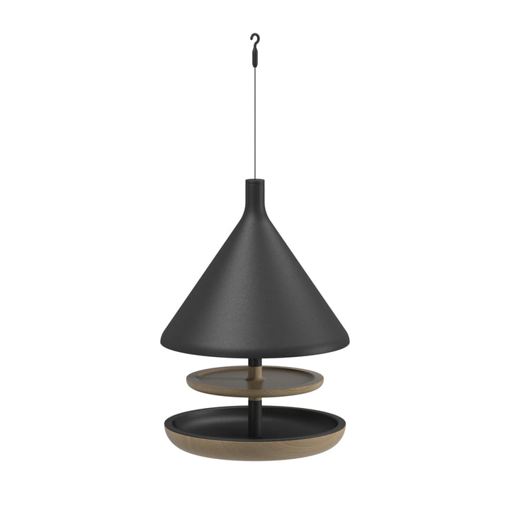 The Deco bird feeder hanging from Gloster , teak / meteor