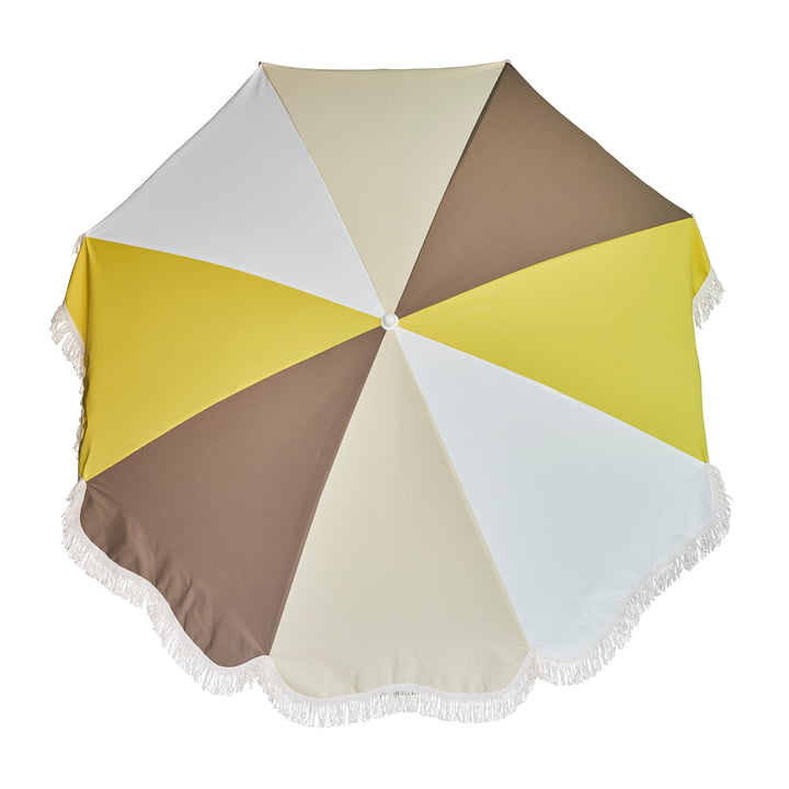 The Retro parasol Ø 200 cm from Jan Kurtz , white / taupe / nature / yellow