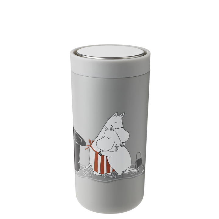 The To Go Click Moomin mug from Stelton , 0.4 l, double-walled, soft light grey