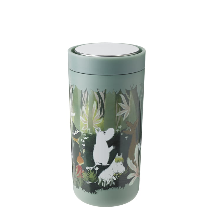 The To Go Click Moomin mug from Stelton , 0.4 l, double-walled, soft dusty green