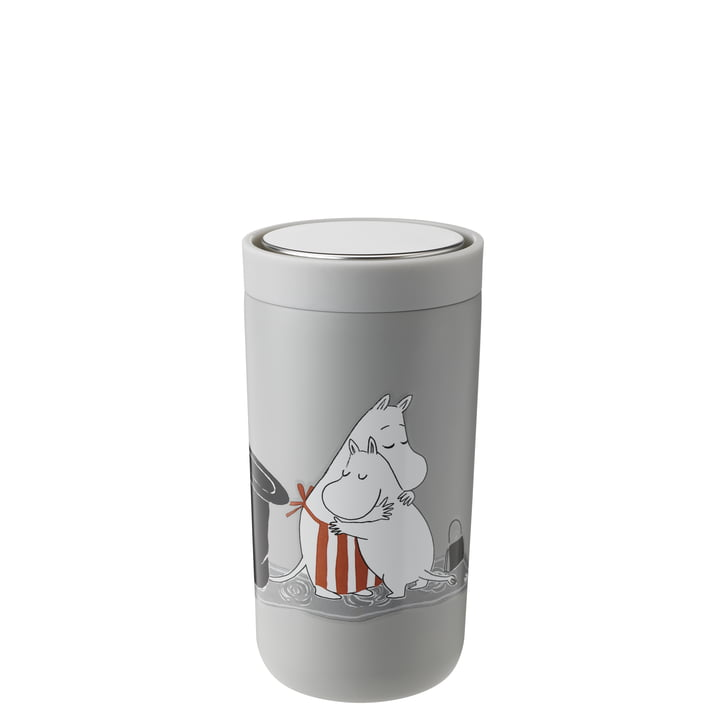 The To Go Click Moomin mug from Stelton , 0.2 l, double-walled, soft light grey
