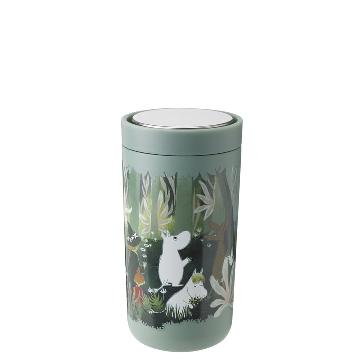 The To Go Click Moomin mug from Stelton , 0,2 l, double-walled, soft dusty green