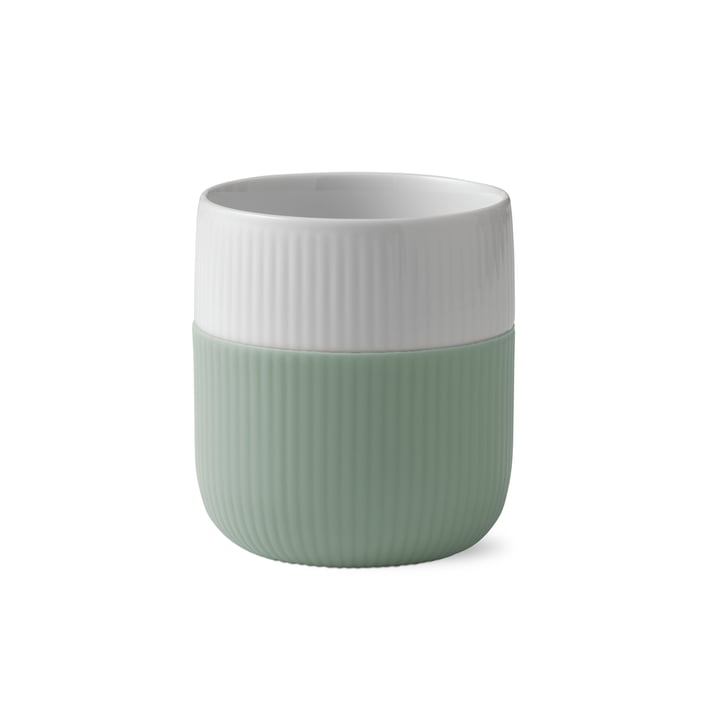 Fluted Contrast cup ribbed 33 cl, lichen by Royal Copenhagen