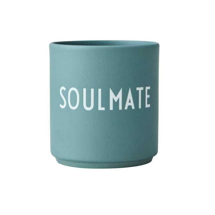 The AJ Favourite porcelain mug from Design Letters , Soulmate / dusty green