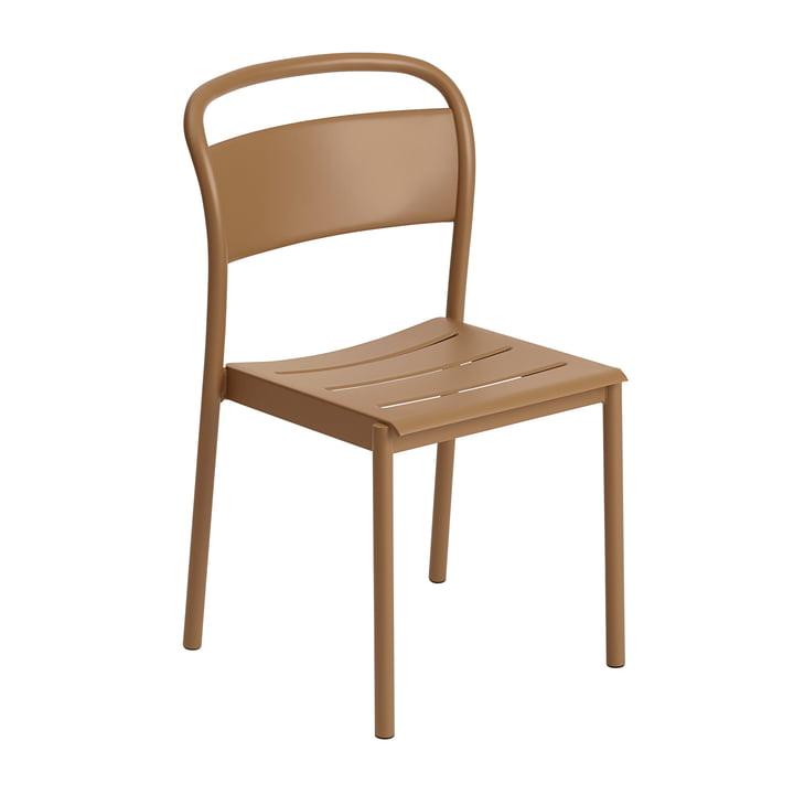 The Linear Steel Side Chair of Muuto , burnt orange