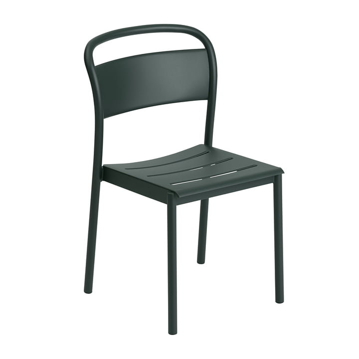The Linear Steel Side Chair from Muuto , dark green