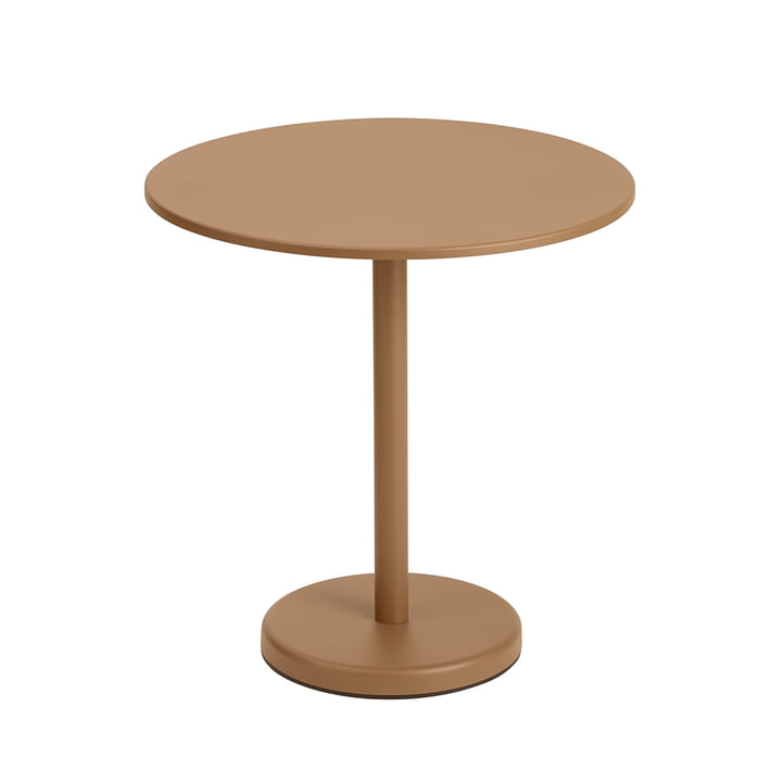 The Linear Steel table, round from Muuto , Ø 70 cm, burnt orange