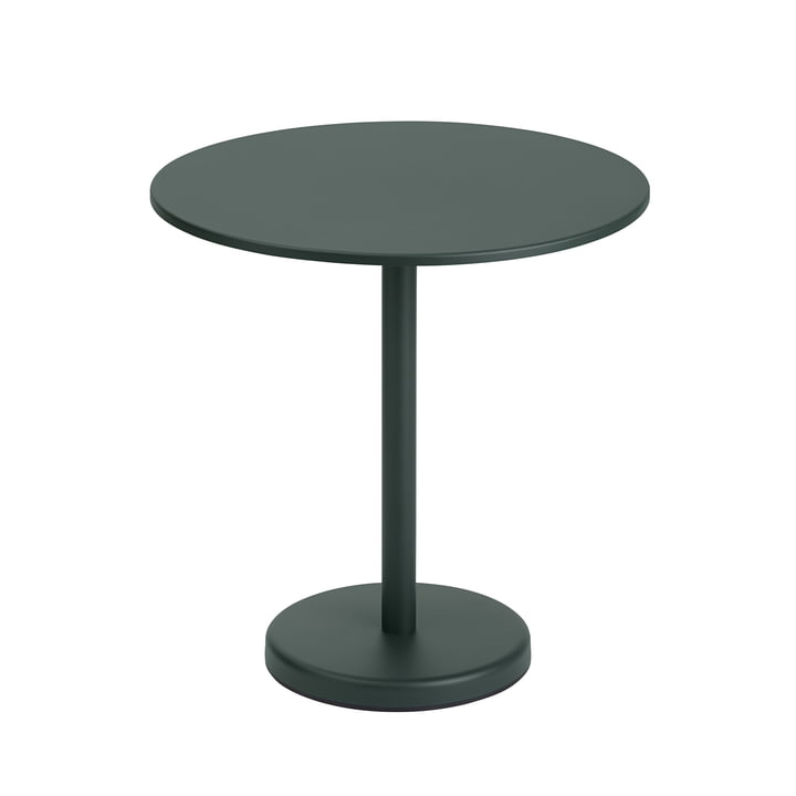 The Linear Steel table from Muuto , round, Ø 70 cm, dark green