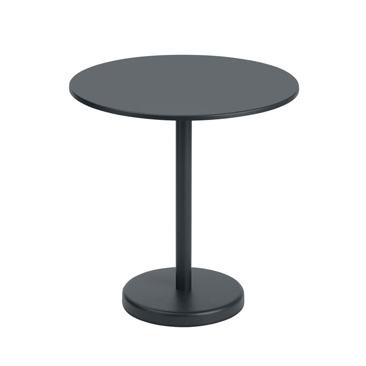 The Linear Steel table from Muuto , round, Ø 70 cm, black