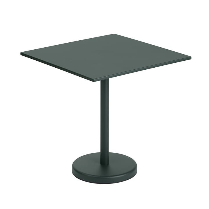 The Linear Steel table from Muuto , 70 x 70 cm, dark green