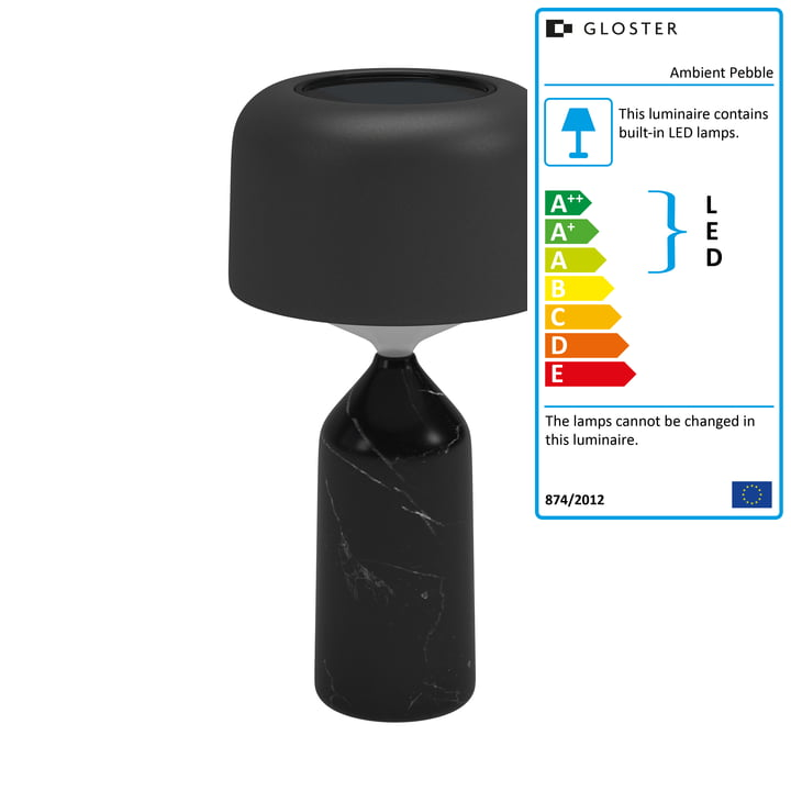 The Ambient Pebble rechargeable table lamp from Gloster in carbon / meteor