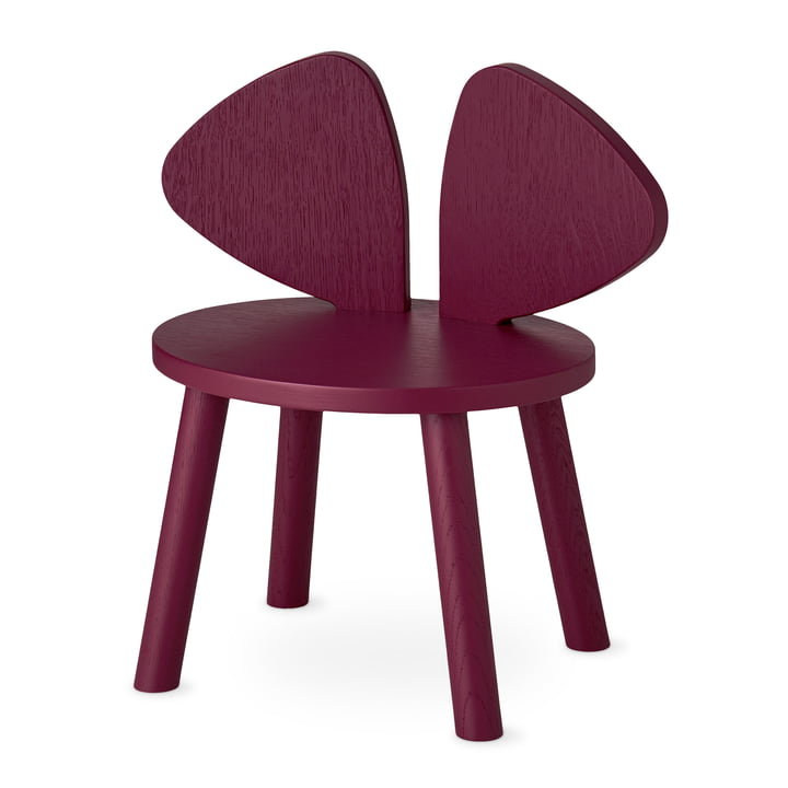 Mouse Kids chair from Nofred in burgundy