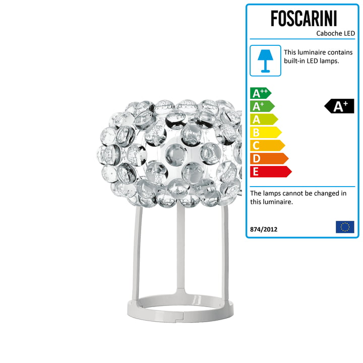 Caboche piccola LED table lamp from Foscarini in transparent