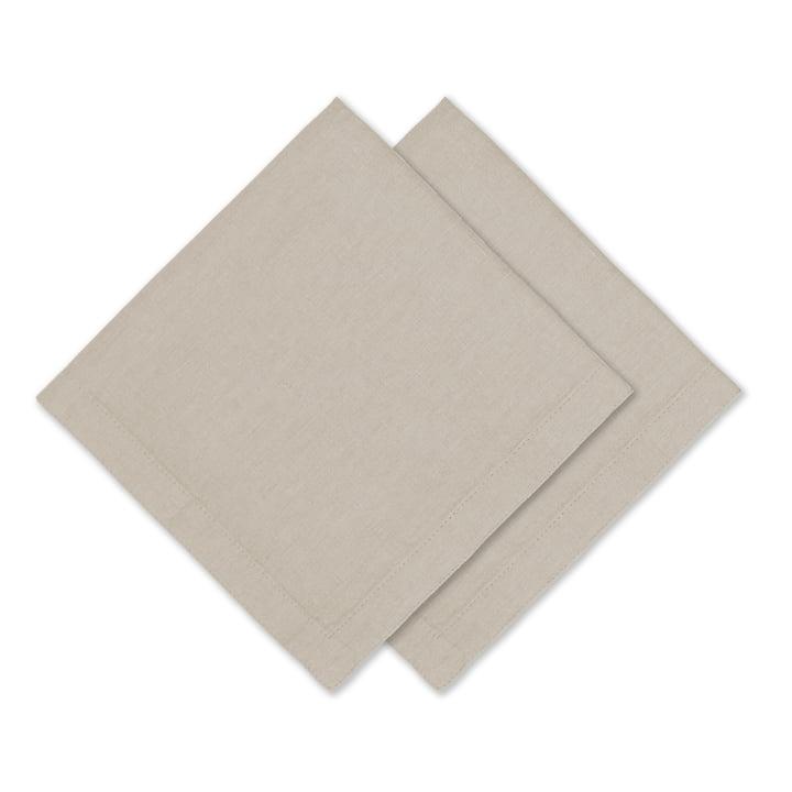 Connox Collection - Linen napkin, 45 x 45 cm, set of 2, nature