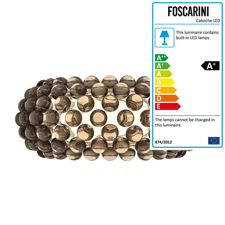 Caboche Plus media LED wall lamp from Foscarini in grey
