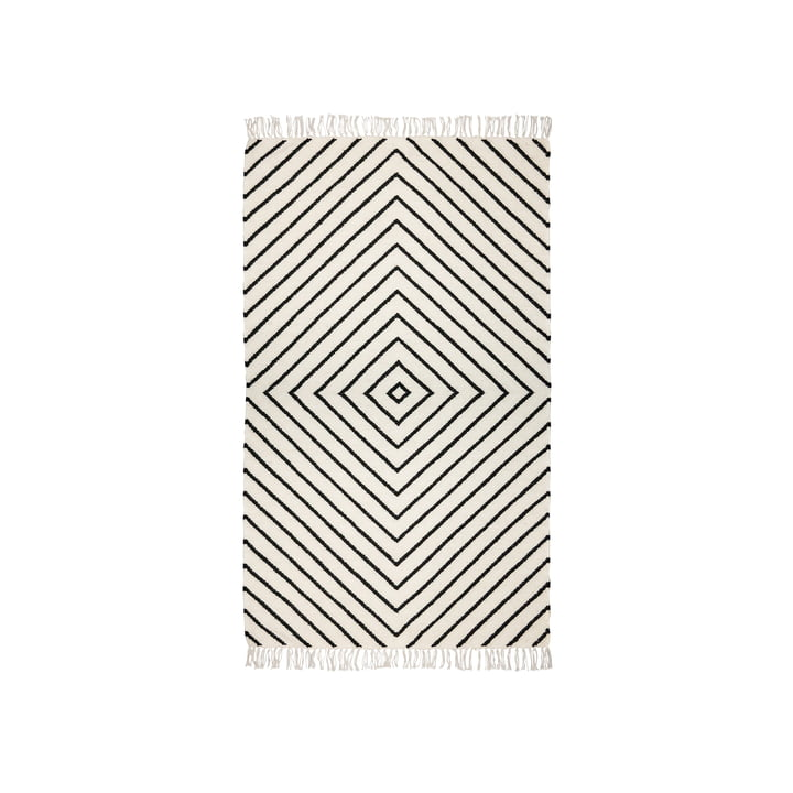 The kilim carpet from Connox Collection , 90 x 160 cm, diamond pattern, offwhite / black