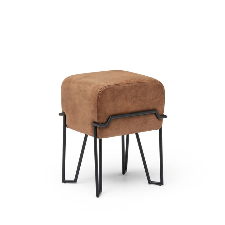 Bokk Stool H 46 cm, black / leather brown from Puik
