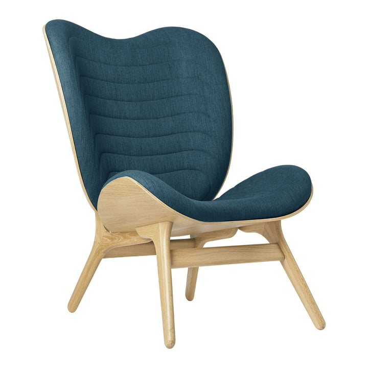 The A Conversation Piece Tall armchair from Umage , oak / petrol blue ( kingston )