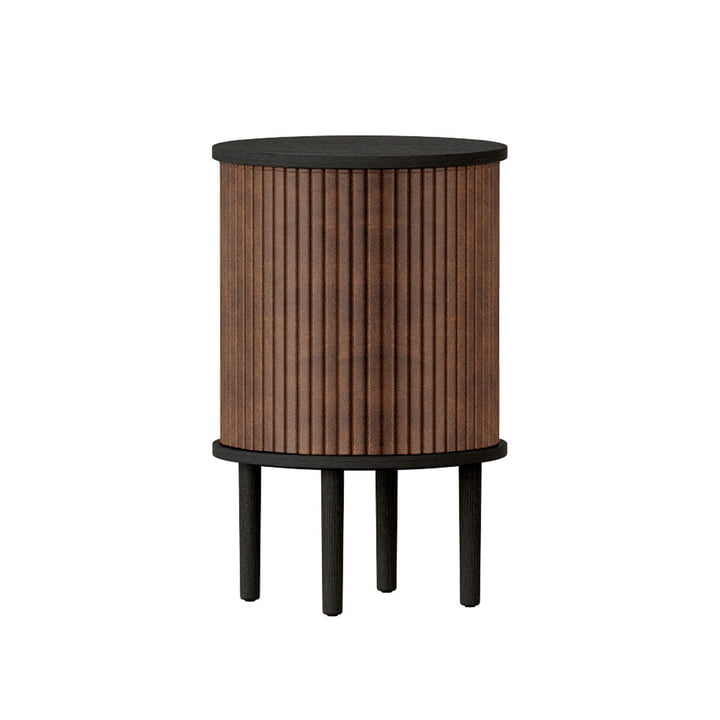 The Audacious side table with USB connection from Umage , Ø 38 x H 5 9. 3 cm, oak black / hazelnut