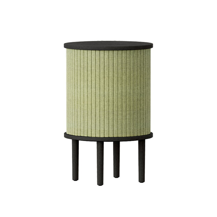 The Audacious side table with USB connection from Umage , Ø 38 x H 5 9. 3 cm, oak black / spring green
