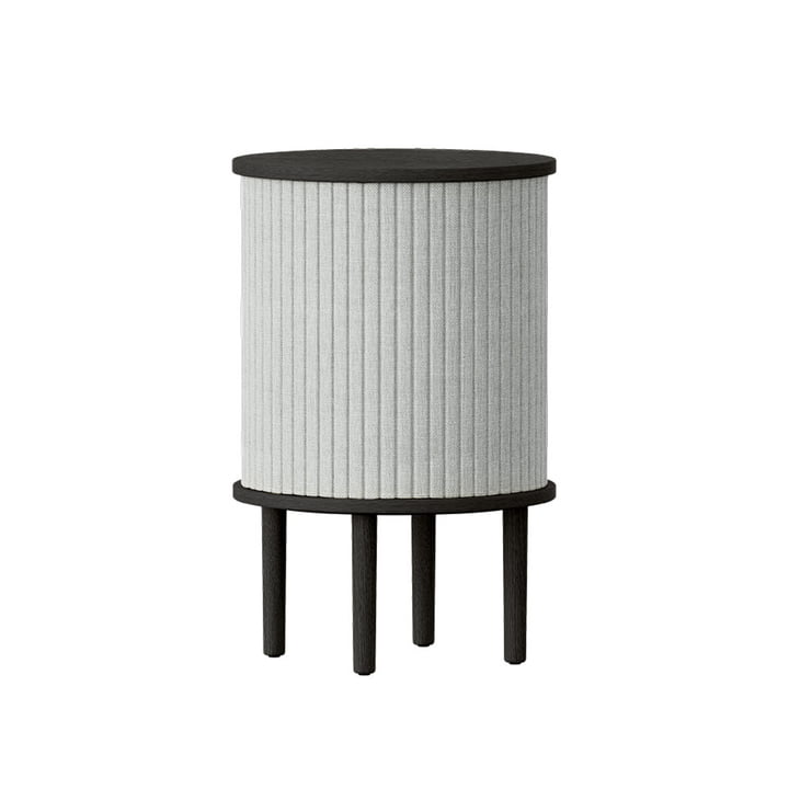 The Audacious side table with USB connection from Umage , Ø 38 x H 5 9. 3 cm, oak black / silver grey