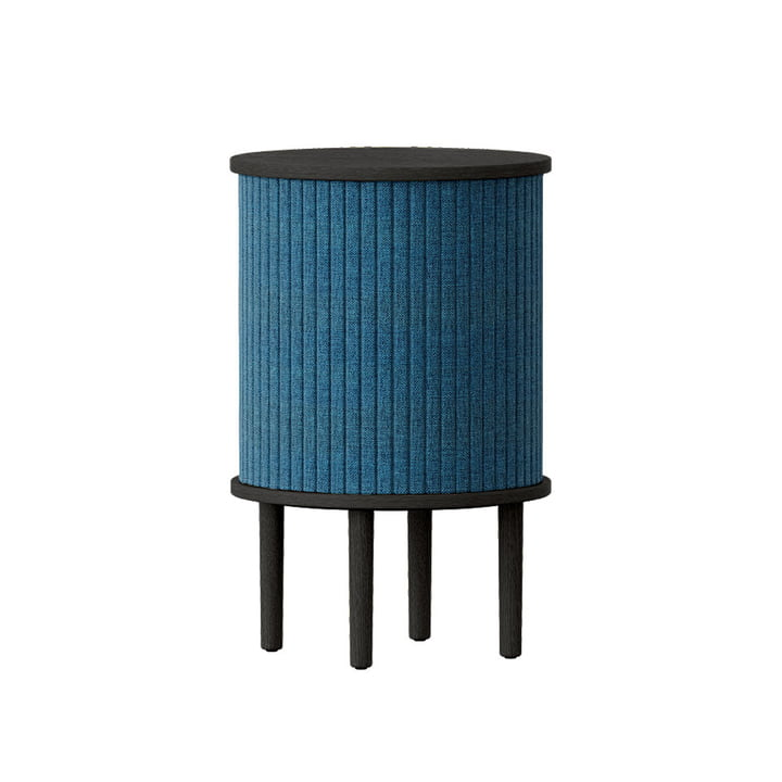 The Audacious side table with USB connection from Umage , Ø 38 x H 5 9. 3 cm, oak black / petrol blue