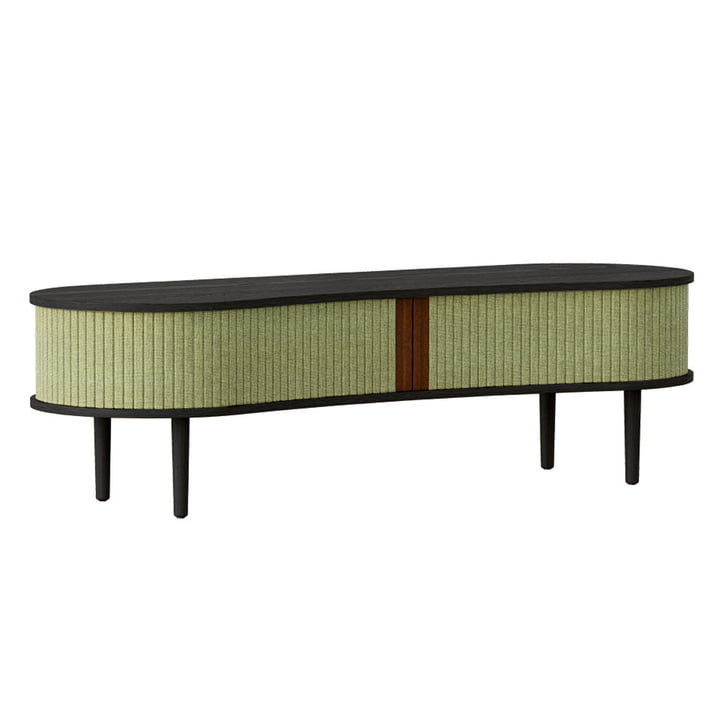 The Audacious TV bench from Umage , oak black / spring green