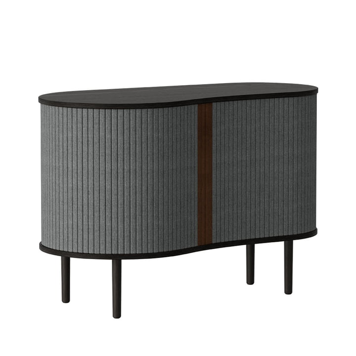 The Audacious chest of drawers from Umage , black oak / slate grey
