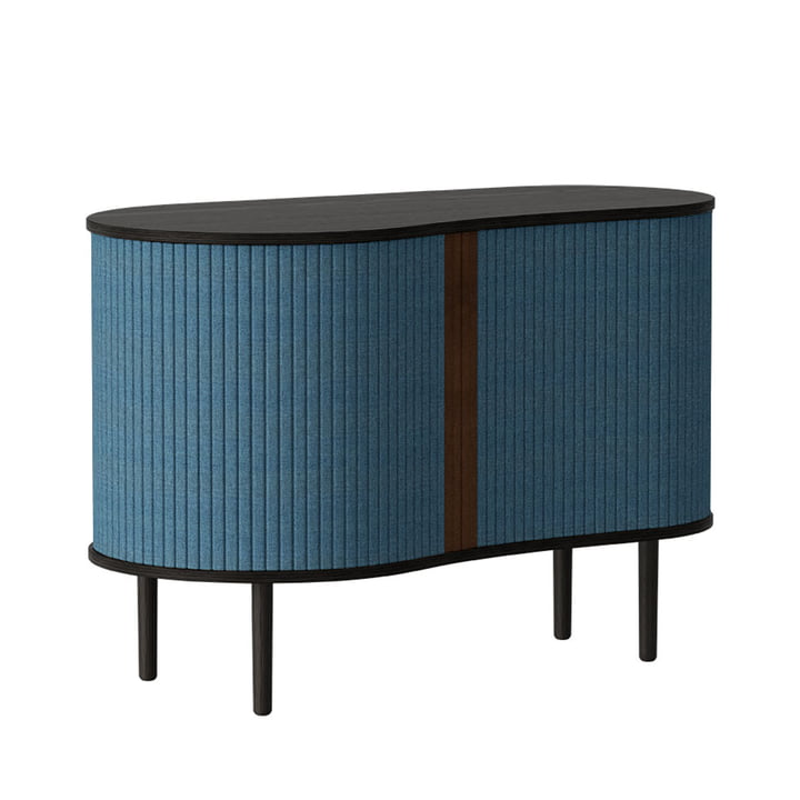 The Audacious chest of drawers from Umage , black oak / petrol blue