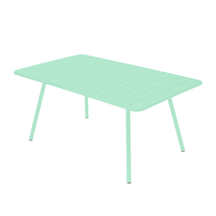 The Luxembourg Fermob table, rectangular, 165 x 100 cm, opal green